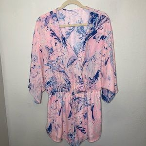 Mary & Mabel Pink and Blue Romper XL